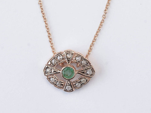 Emerald and Rose Cut Diamonds Charm Necklace