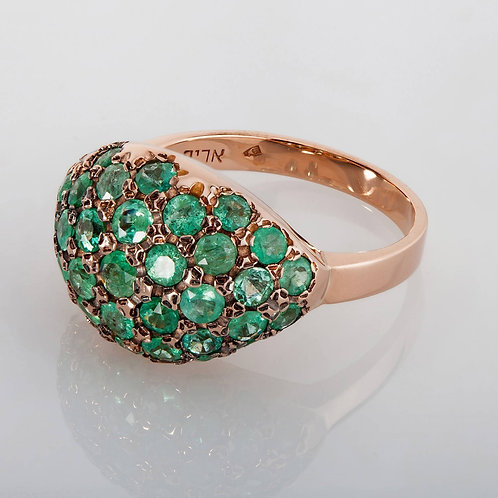 Emerald Pave Petal Gold Ring