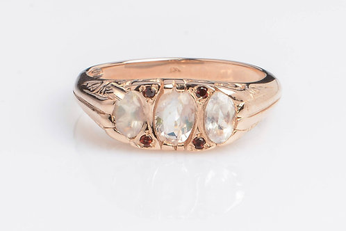 3 Stone Ring Moonstone and Garnet