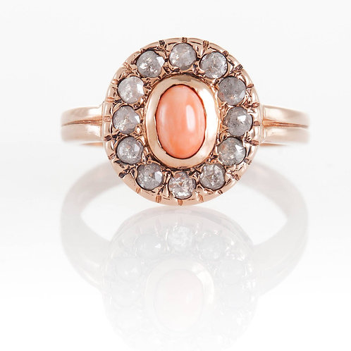 Rose Cut Diamonds and Coral Ring
