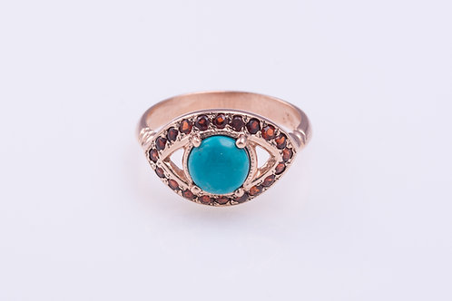 Turquoise and Garnet Protection Eye Ring
