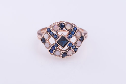 Sapphire and Opal Ribbon Ring