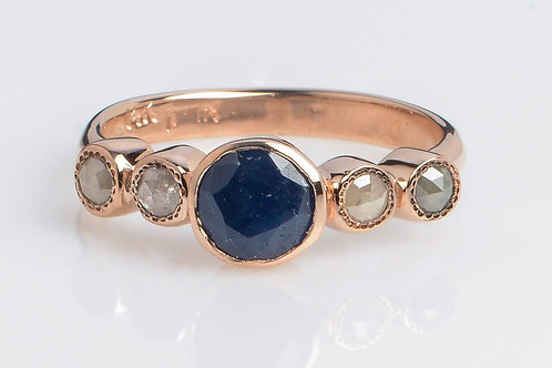 5 Rounded Sapphire and Rose-Cut Diamonds Ring