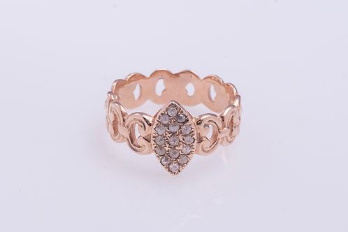 Rose Cut Diamonds Oval Ring
