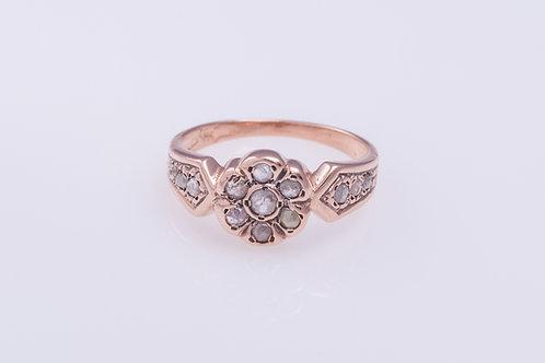 Rose Cut Diamonds Flower Ring