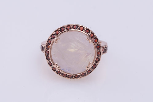 Round Moonstone and Garnet Ring