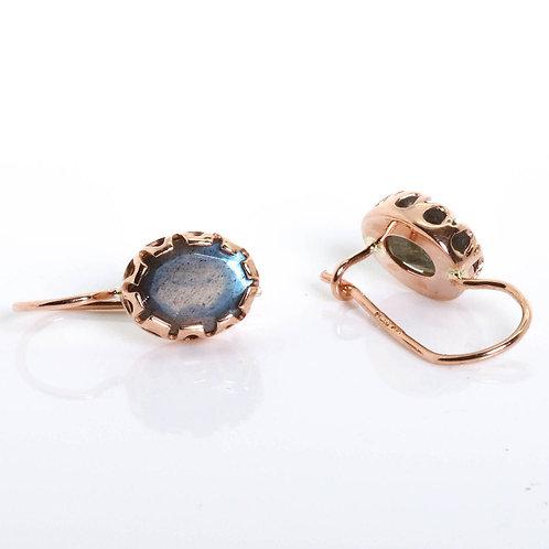 Oval Labradorite Victorian Style Earrings