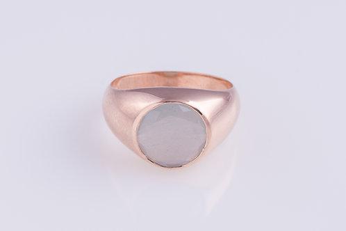 Round Milky Aquamarine Ring