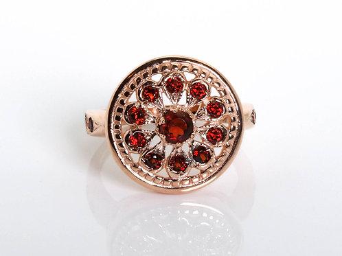 Vintage Red Garnet Statement Ring