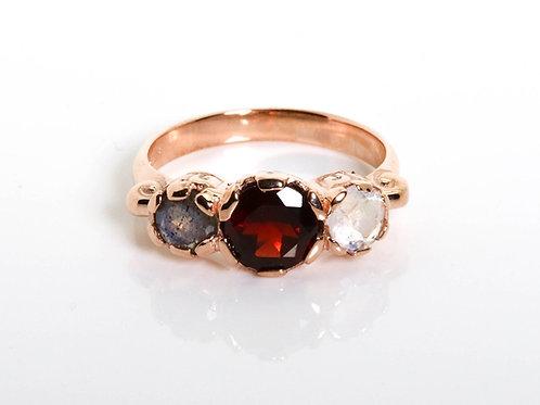 Vintage style Garnet, Moonstone and Labradorite Ring