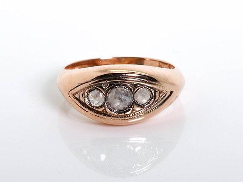 3 Rose Cut Diamond Stones Ring