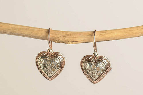 Heart Shaped Diamond Drop Earrings
