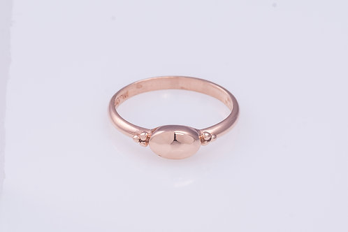 Handmade 14K oval disc in Rose Gold