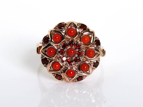 Flower Red Coral and Garnet Ring