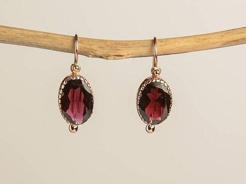 Oval Garnet Drop Earrings