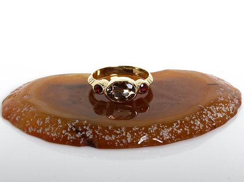 Smoky Topaz and Garnet Oval Ring