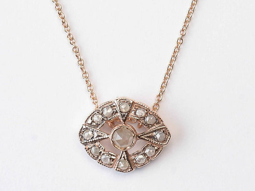 Victorian Style Rose Cut Diamonds Charm with Necklace