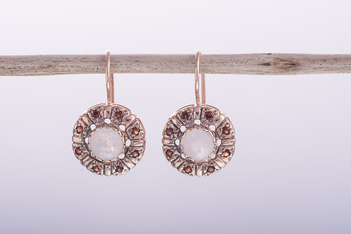 Round Moonstone and Garnet Earrings