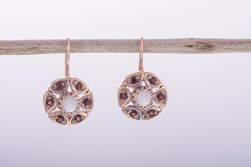 Round Milky Aquamarine & Garnet Earrings