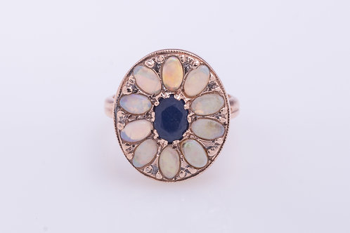 Opal and Sapphire Flower Ring