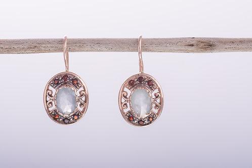 Oval Milky Aquamarine and Garnet Earrings