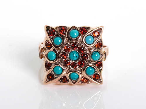 Vintage Inspired Garnet and Turquoise Ring