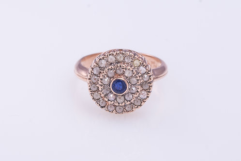 Round Sapphire and Rose Cut Diamonds Princess Ring