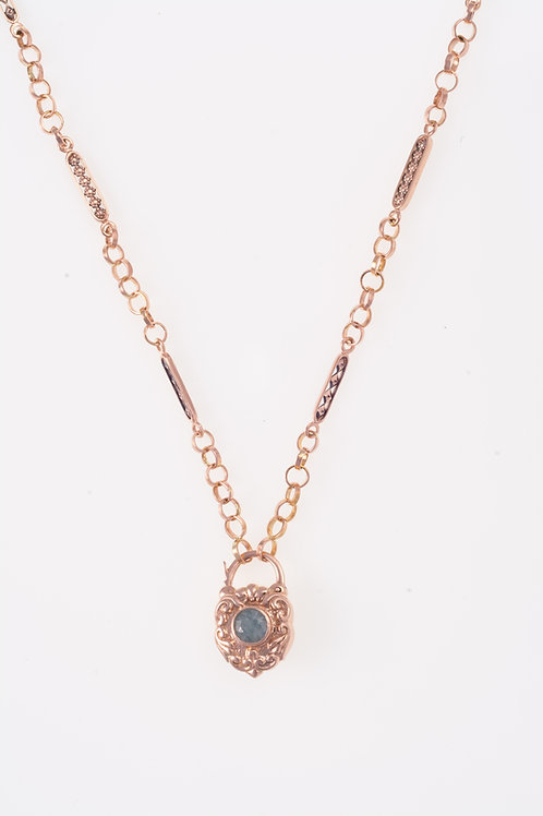 Rhombus and Flowers Rose Gold Necklace