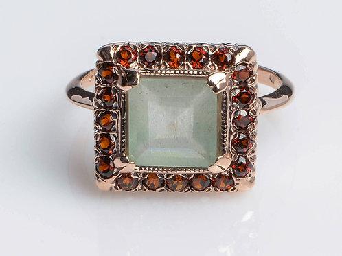 Aquamarine Square Ring with Rose Cut Diamonds