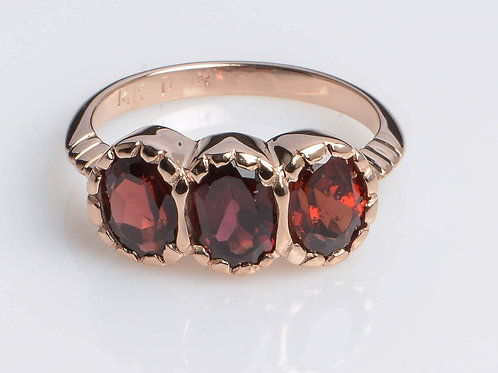 Signature three-Stone Garnet Ring