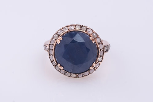 Round Sapphire and Rose Cut Diamonds Cocktail Ring
