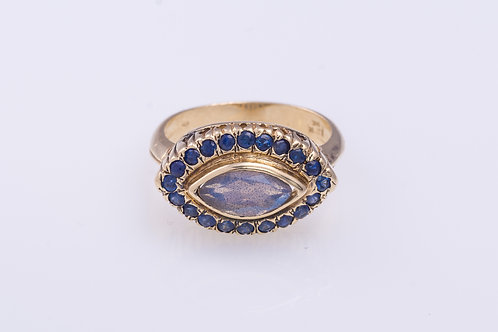 Labradorite and Sapphire Oval Cocktail Ring