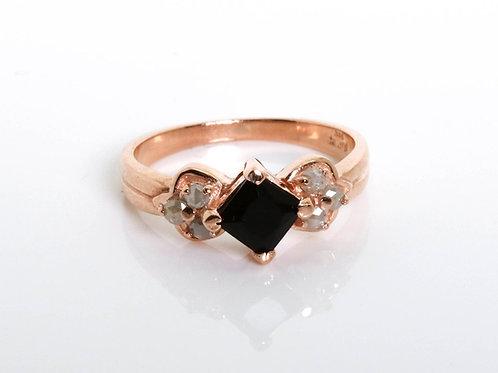Hexagon Onyx Ring set with Rose-Cut Diamonds