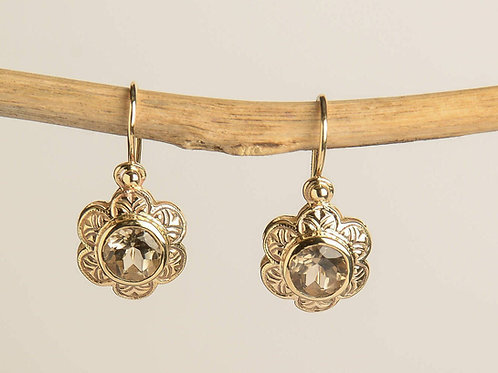 Flower shaped Earrings with Round Smoky Topaz
