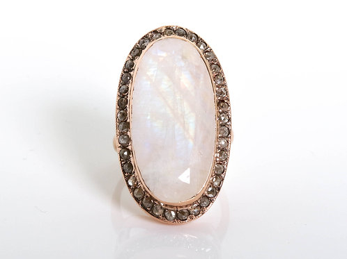 Oval Cocktail Ring Moonstone and Rose-Cut Diamonds
