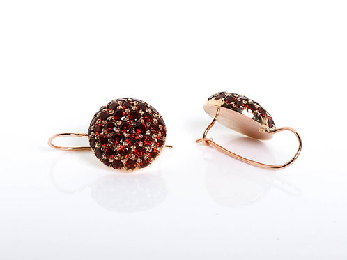 Round Pave Garnet Earrings