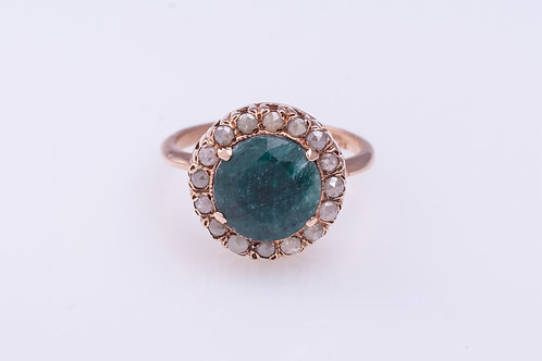 Round Emerald and Rose Cut Diamonds Cocktail Ring