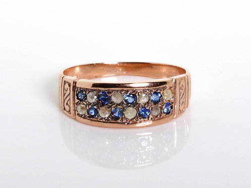Diamond and Blue Sapphire Vintage Ring