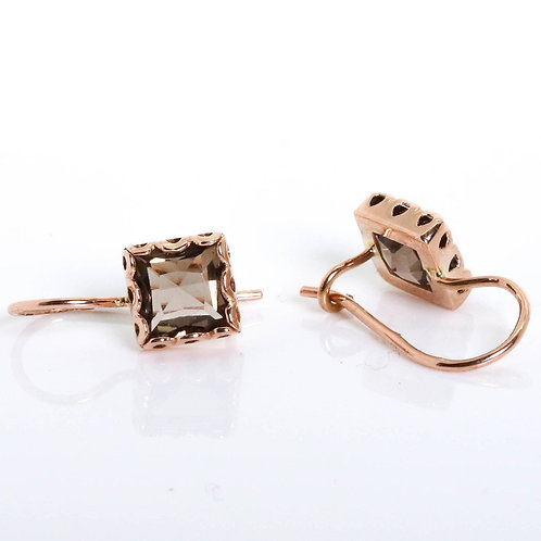 Square Earrings with Smoky Topaz