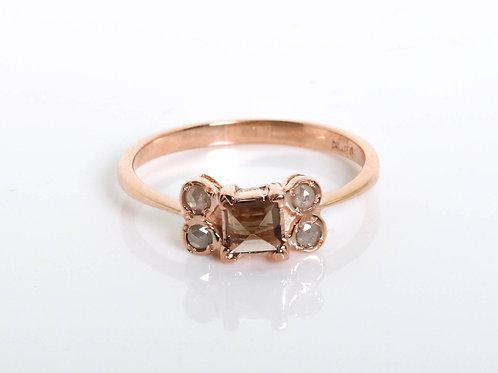 Rose Cut Diamonds and Smoky Topaz Princess Ring