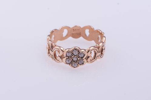 Ribbon Rose Cut Diamonds Flower Ring