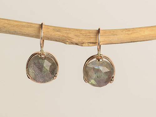Round Labradorite Drop Earrings