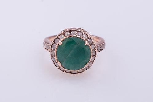 Round Emerald and Rose Cut Diamonds Statement Ring