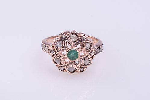 Rose Cut Diamonds and Emerald Mandala Ring