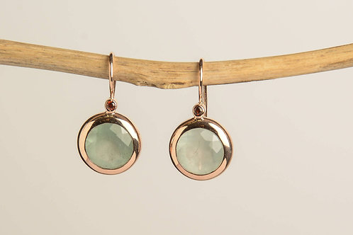 Round Aquamarine and a small Garnet Drop Earrings
