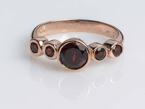 5 Rounded Garnet stones Ring