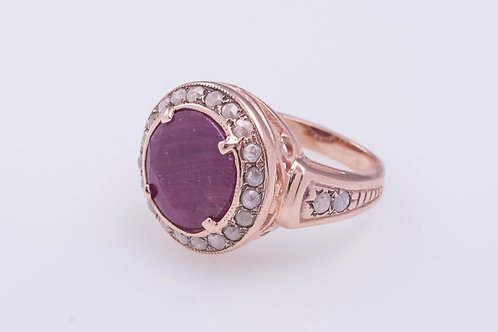 Ruby and Rose Cut Diamonds Cocktail Ring