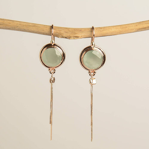Round Milky Aquamarine with a tassel Drop Earrings
