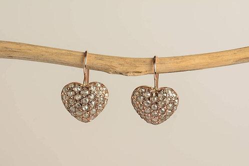 Rose Gold Heart Shaped Earrings