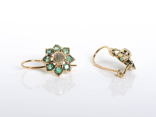 Diamond and Emerald Flower Earring